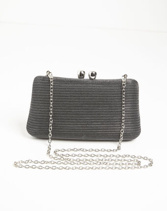 Isadora metallic yarn black clutch bag black.