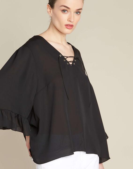 Zwarte blouse met veterhals met ringetjes Dora PhotoZ | 1-2-3