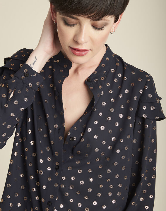 Chana black printed blouse with puffy sleeves (3) - 1-2-3