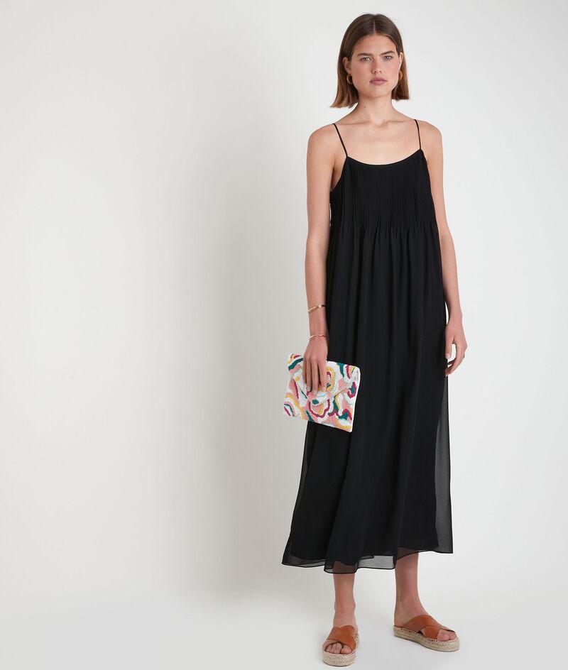Robe mi-longue plissée noire Sabrina PhotoZ | 1-2-3