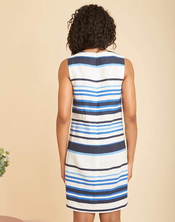 Blau gestreiftes Leinenkleid Berangere (4) - 1-2-3