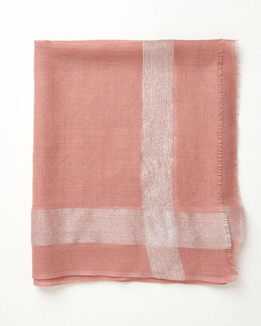 Foulard en laine et soie rose pale brillant Ashley (1) - 1-2-3