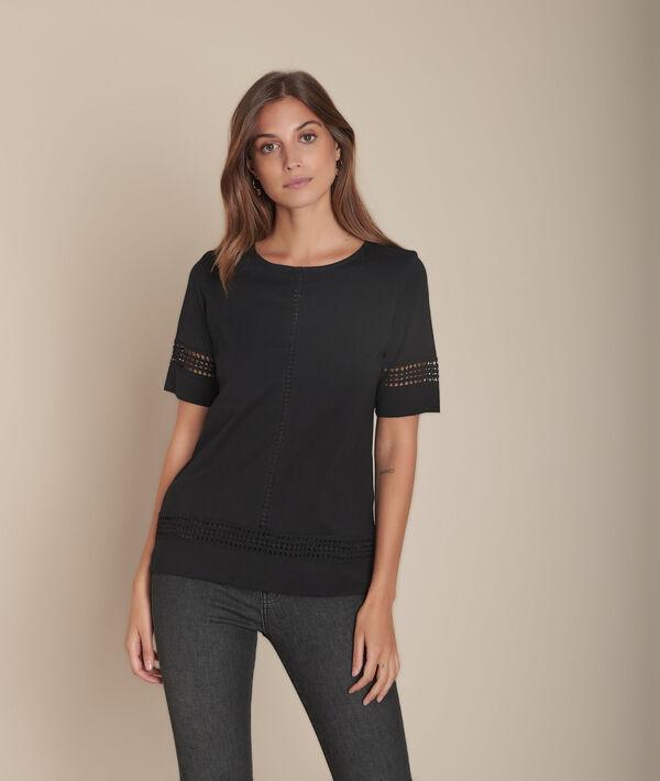 Tee-shirt noir en dentelle Cadix PhotoZ | 1-2-3