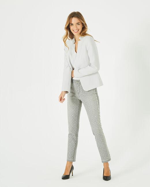 Veste de tailleur gris pâle à revers Bea (1) - 1-2-3