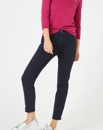 Pia 7/8 length navy blue satin trousers (2) - 1-2-3