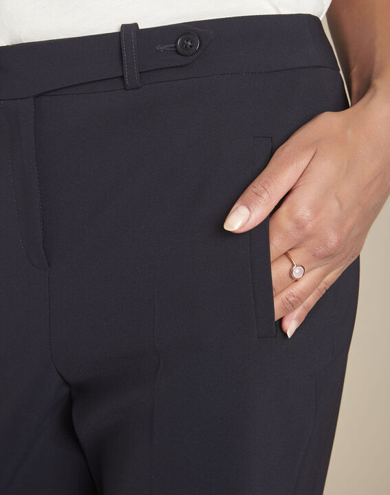 Lara navy slim-cut microfibre trousers (4) - 1-2-3