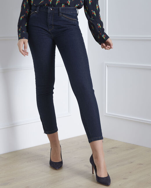 Opéra 7/8 length light navy blue slim-cut jeans with zip detailing (2) - 1-2-3