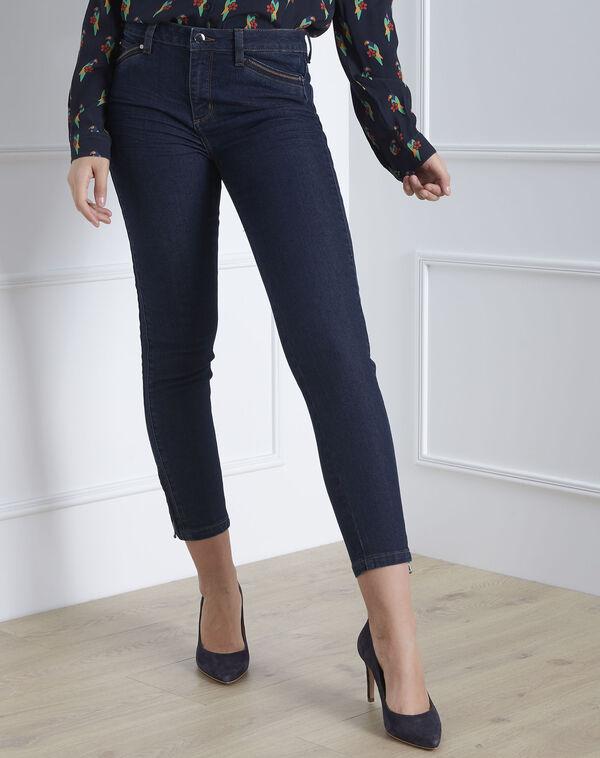 Opéra 7/8 length light navy blue slim-cut jeans with zip detailing (2) - 1-2-3