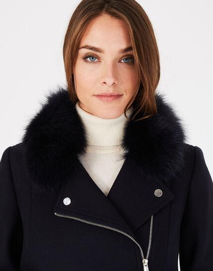 Manteau marine en laine mélangée col fourrure Oryanne (3) - 1-2-3