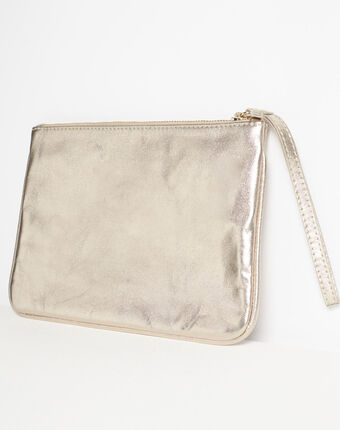 Droopy metallic clutch with leather straps gold.