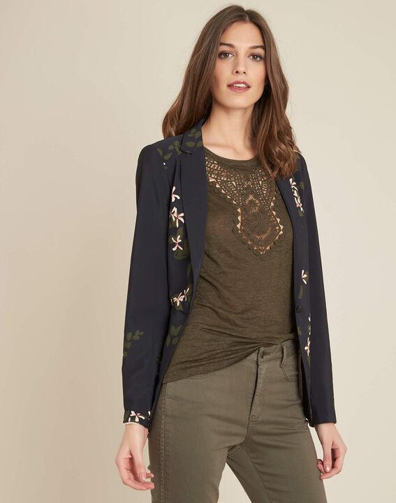 Demoiselle black floral printed fitted jacket (3) - 1-2-3
