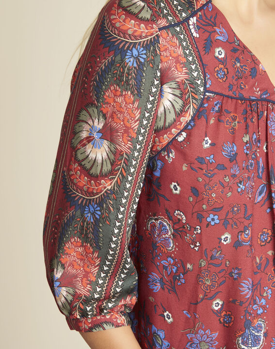 Cécile red blouse with a floral print (2) - 1-2-3