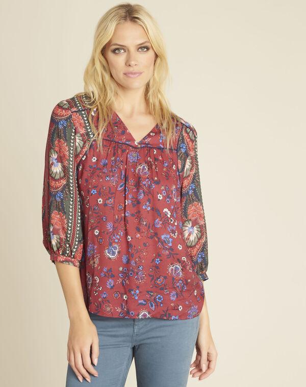 Rode blouse met bloemenprint Cécile (2) - 37653