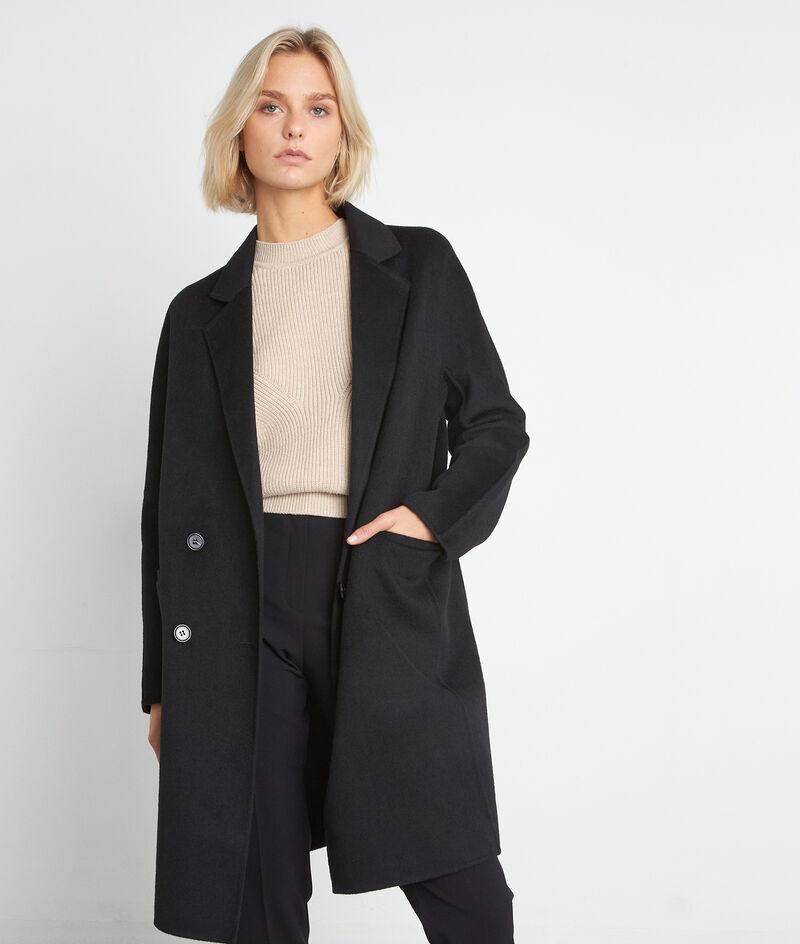 Manteau en laine texturé noir Lina PhotoZ   1-2-3