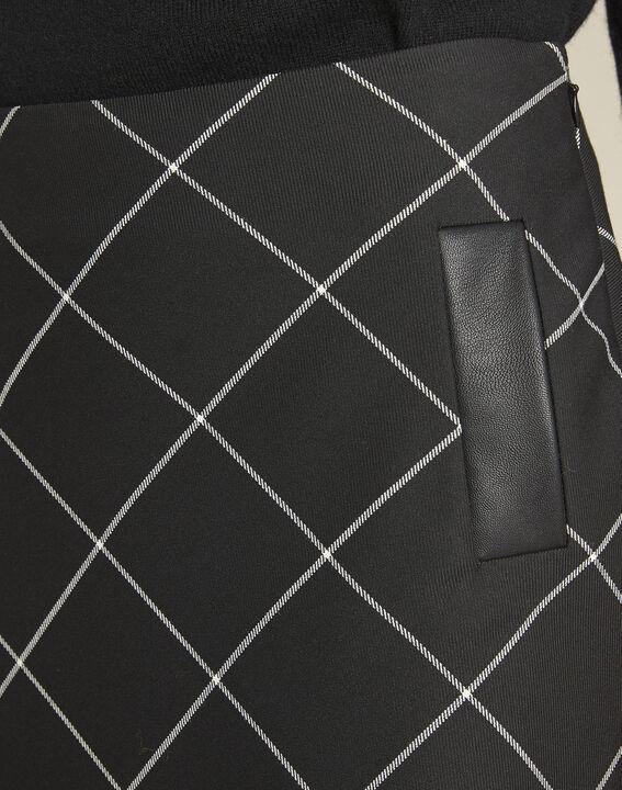 Zwarte trapezium jurk met ruitjes Alixia (3) - 37653