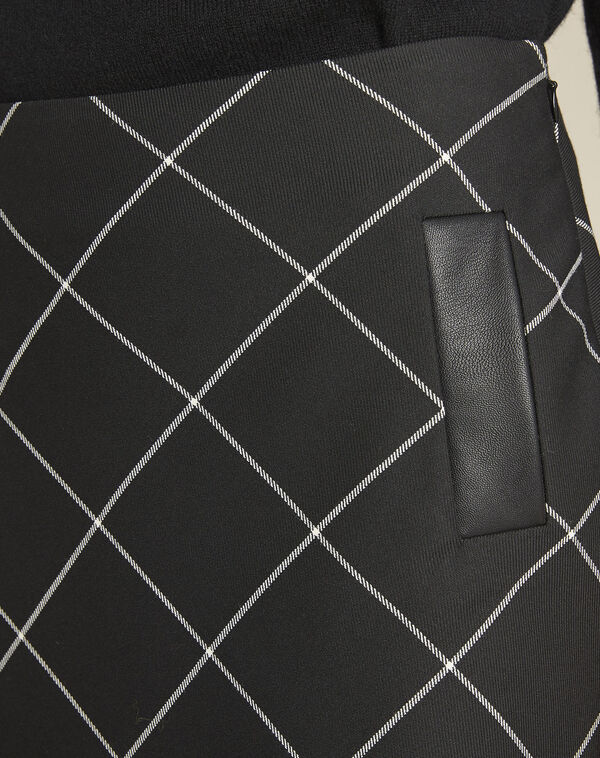 Jupe noire à carreaux trapèze Alixia (2) - 1-2-3