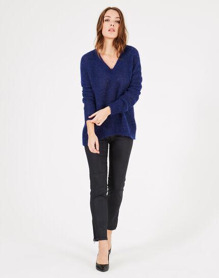 Königsblauer Pullover mit V-Ausschnitt aus grobem Strick Paprika (1) - 1-2-3