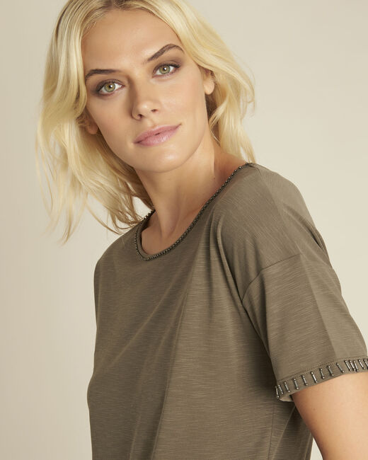 Tee-shirt kaki encolure fantaisie Gilda (2) - 1-2-3
