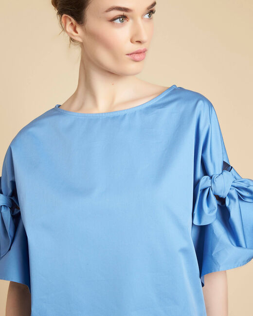 Garibaldi sky blue blouse with decorative sleeves (1) - 1-2-3