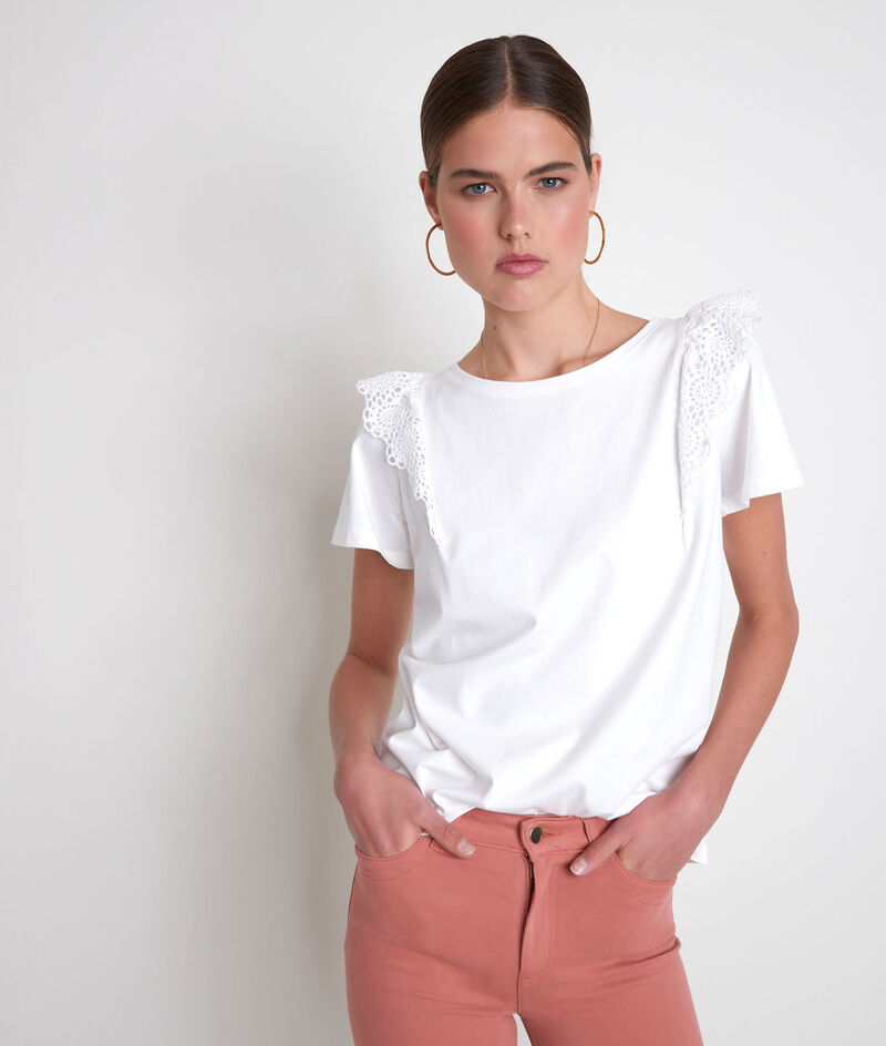 Tee-shirt en coton biologique à broderies blanc Eclat PhotoZ | 1-2-3