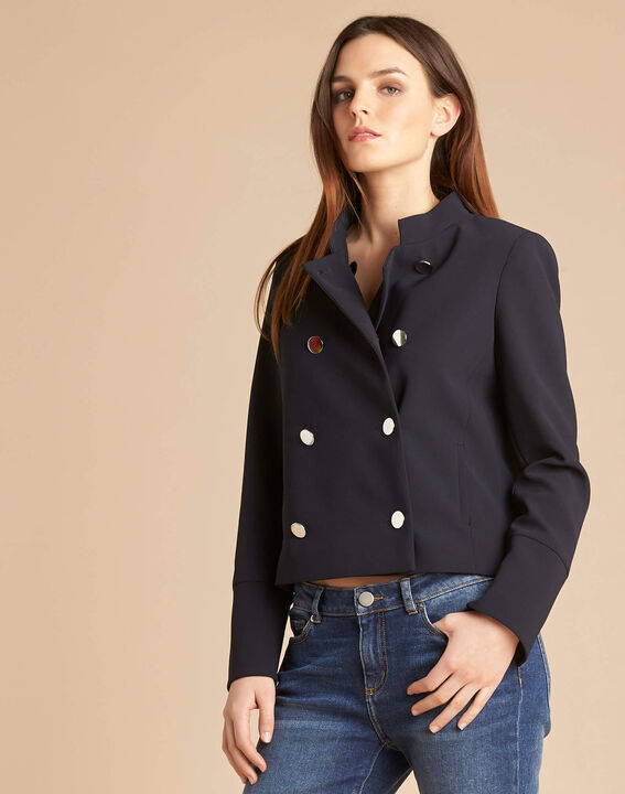 Citron navy blue collarless jacket (3) - 1-2-3