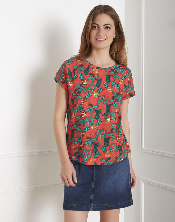 Tee-shirt rouge imprimé ananas Pineapple PhotoZ | 1-2-3