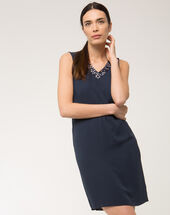 Felicie blue dress with diamanté neckline navy.