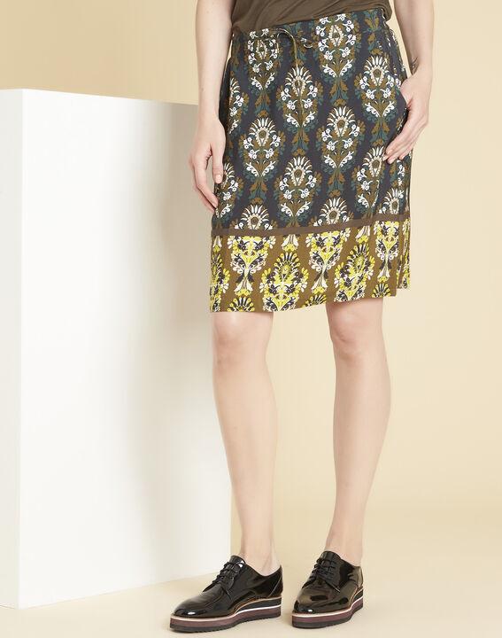 Luna straight black skirt with print PhotoZ | 1-2-3