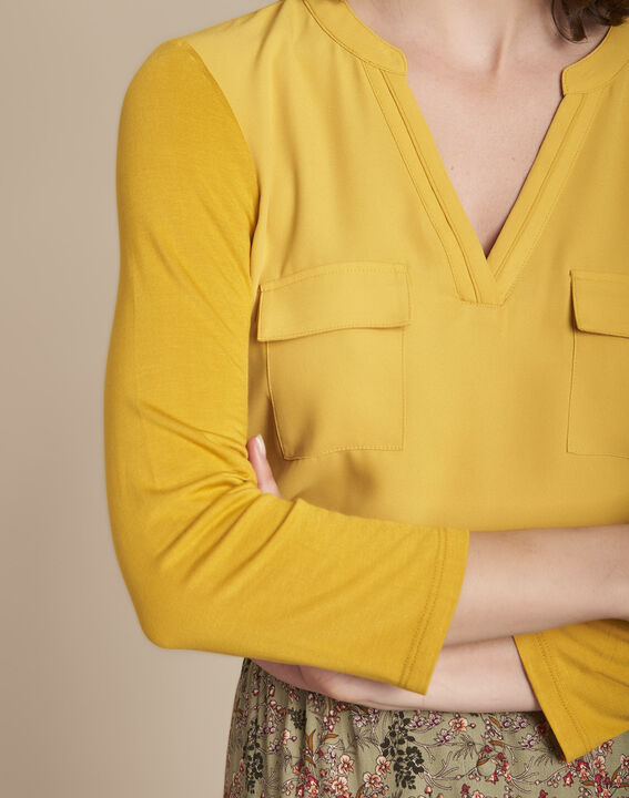 Genna lime green V-neck dual-fabric blouse (3) - 1-2-3