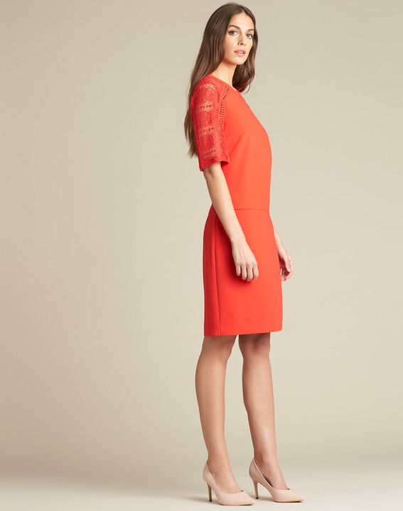Pastel dual-fabric red lace dress (3) - 1-2-3
