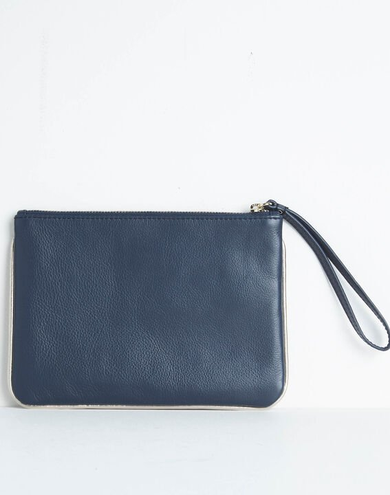 Droopy navy clutch with leather straps (4) - 1-2-3