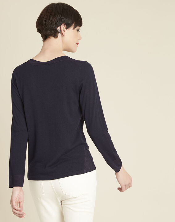 Bergamotte navy fine-knit sweater with V-neck (4) - 1-2-3