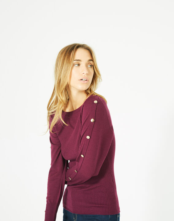 Philo woolen blackcurrant sweater with stylish sleeves (3) - 1-2-3