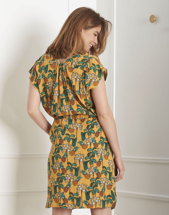 Robe jaune imprimé ananas Lulano (3) - Maison 123