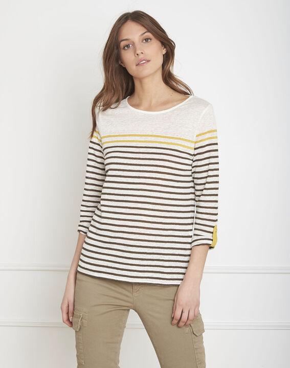 Tee-shirt écru rayé en lin Pise (2) - Maison 123