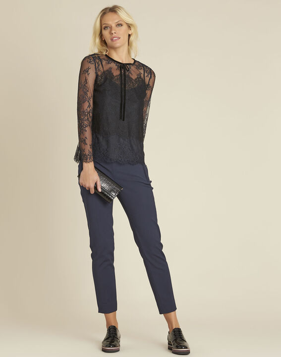 Holly navy slim-fit compact trousers (2) - 1-2-3