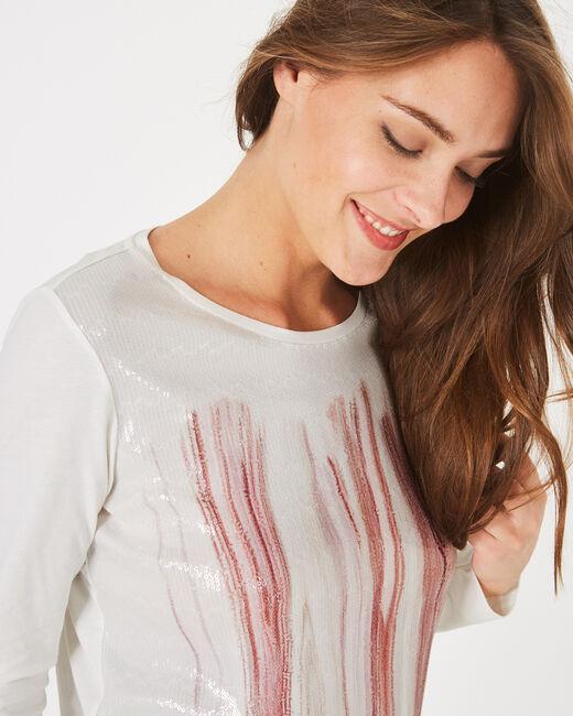 Tee-shirt blanc cassé col rond à sequins Bois (1) - 1-2-3