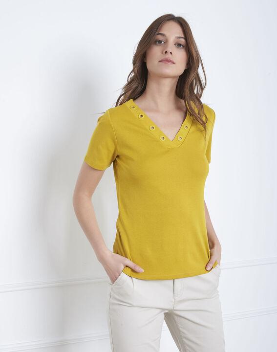 Tee-shirt anis encolure oeillets Basic (2) - Maison 123