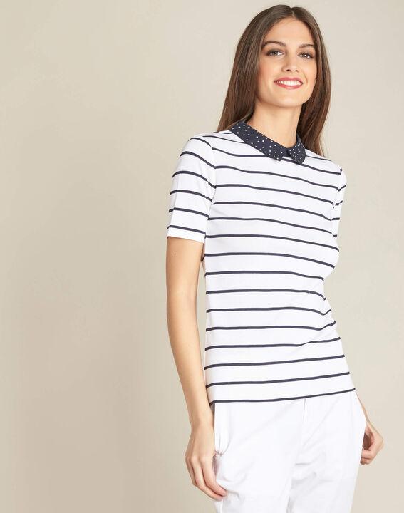 Marineblauw gestreept T-shirt met claudinekraag Egantine (3) - 37653