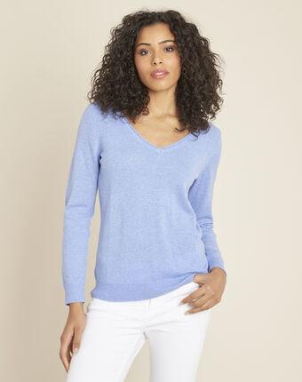 Blauwe trui van kasjmier met v-hals pivoine bleu moyen.