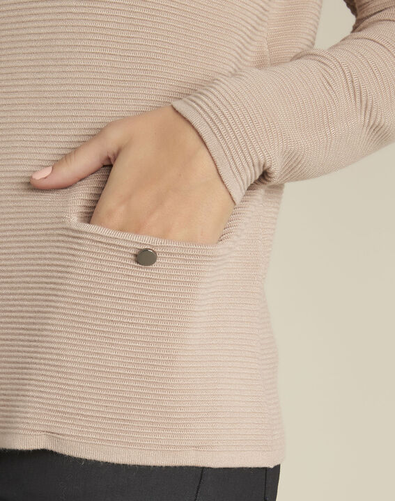 Pull beige maille fantaisie Blandine (3) - Maison 123