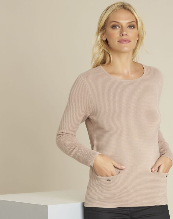 Blandine beige decorative knit pullover PhotoZ | 1-2-3