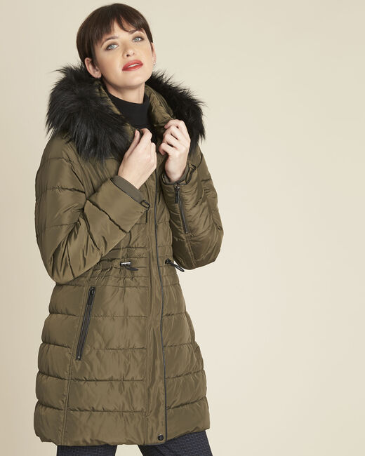Perrine khaki faux fur hooded down jacket (2) - 1-2-3