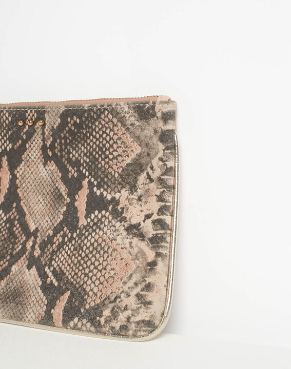 Droopy pink python print clutch with leather straps (4) - 1-2-3