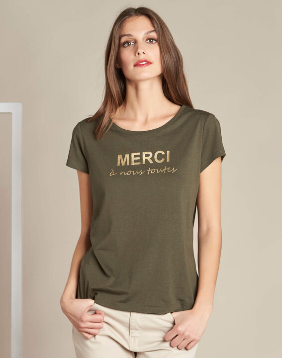 Tee-shirt kaki sérigraphié Extra (3) - 1-2-3