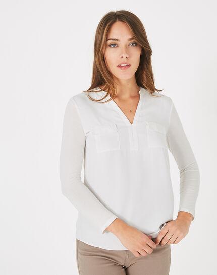 Ecrufarbenes T-Shirt im Materialmix Leden (2) - 1-2-3