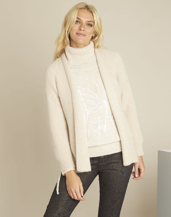 Blinis cream cardigan with side lacing (1) - Maison 123