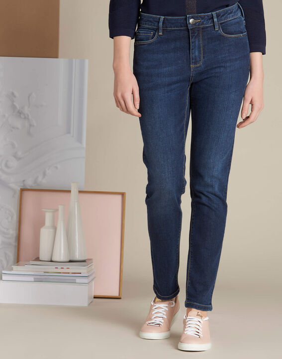 Dunkelblaue Slim-Fit-Jeans Vendome (3) - 1-2-3