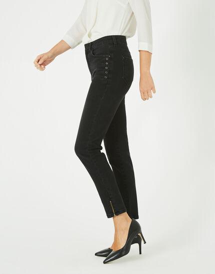 Schwarze 7/8-Jeans mit Reißverschlüssen Nori (2) - 1-2-3