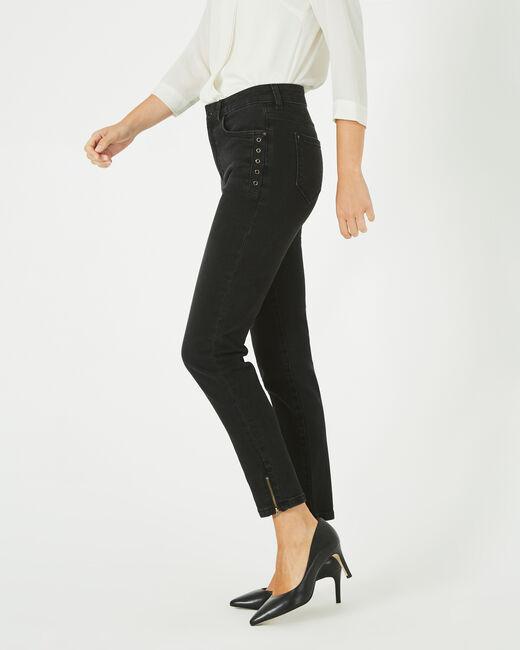 Nori ⅞-length, black zipped jeans (1) - 1-2-3